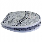 Novelty Black & White Mosaic Effect Toilet Seat  - 02000003